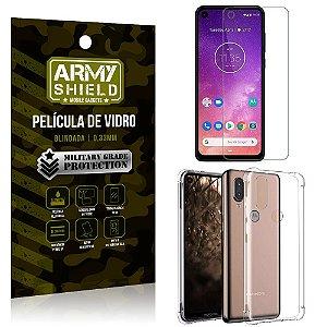 Kit Capa Anti Impacto Motorola One Vision Capa Anti Impacto + Película de Vidro - Armyshield