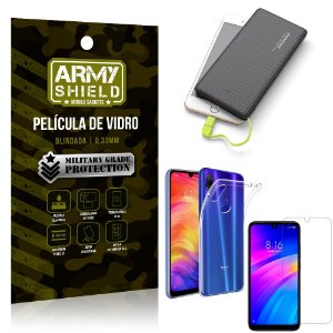 Kit Powerbank 10K Xiaomi Redmi 7 Capa + Película Vidro + Powerbank 10000 mAh - Armyshield