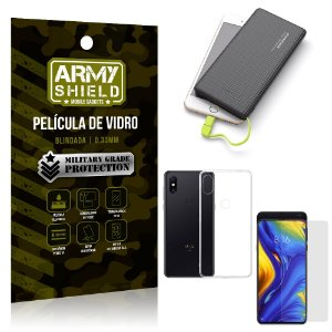 Kit Powerbank 10K Tipo C Xiaomi Mi Mix 3 Capa + Película Vidro + Powerbank 10000 mAh - Armyshield