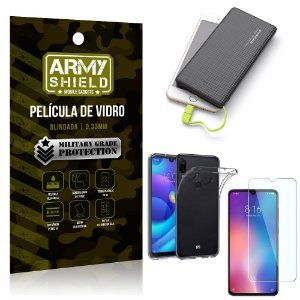 Kit Powerbank 10K Tipo C Xiaomi Redmi Note 7 Capa + Película Vidro +Powerbank 10000 mAh - Armyshield