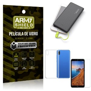 Kit Powerbank 10K Xiaomi Redmi 7A Capa + Película Vidro + Powerbank 10000 mAh - Armyshield