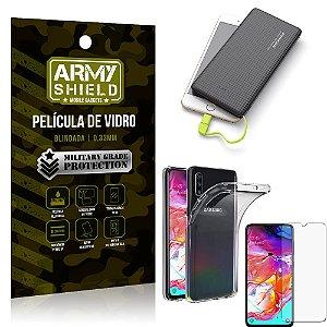 Kit Powerbank 10K Tipo C Samsung A70 Capa + Película Vidro + Powerbank 10000 mAh - Armyshield