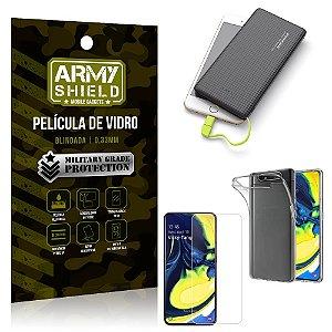 Kit Powerbank 10K Tipo C Samsung A80 Capa + Película Vidro + Powerbank 10000 mAh - Armyshield