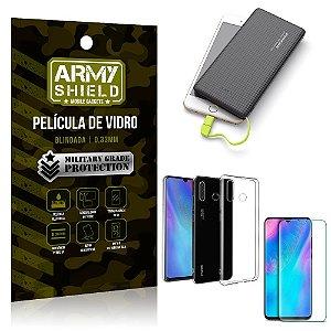 Kit Powerbank 10K Tipo C Huawei P30 Lite Capa + Película Vidro + Powerbank 10000 mAh - Armyshield