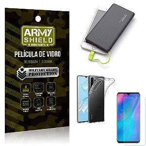Kit Powerbank 10K Tipo C Huawei P30 Pro Capa + Película Vidro + Powerbank 10000 mAh - Armyshield