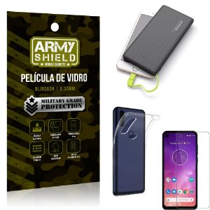 Kit Powerbank 10K Tipo C Motorola One Vision Capa + Película Vidro +Powerbank 10000 mAh - Armyshield