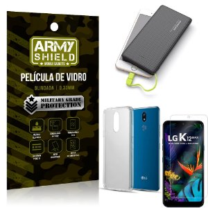Kit Powerbank 10K LG K12 Max Capa + Película Vidro + Powerbank 10000 mAh - Armyshield