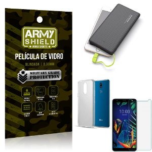 Kit Powerbank 10K LG K12 K12 Plus Capa + Película Vidro + Powerbank 10000 mAh - Armyshield
