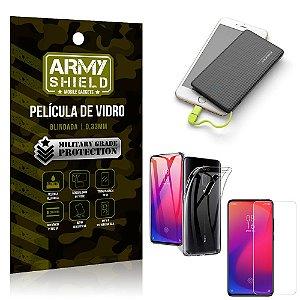 Kit Powerbank 5K Tipo C Redmi K20 Mi 9T Capa + Película Vidro + Powerbank 5000 mAh - Armyshield
