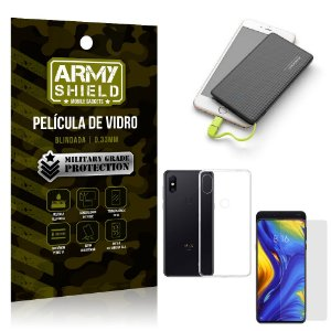 Kit Powerbank 5K Tipo C Xiaomi Mi Mix 3 Capa + Película Vidro + Powerbank 5000 mAh - Armyshield