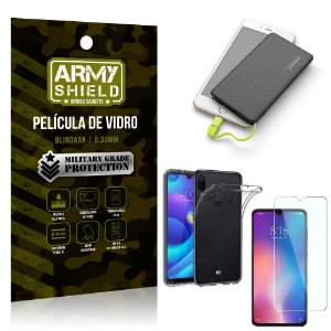 Kit Powerbank 5K Tipo C Xiaomi Redmi Note 7 Capa + Película Vidro + Powerbank 5000 mAh - Armyshield