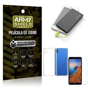 Kit Powerbank 5K Xiaomi Redmi 7A Capa + Película Vidro + Powerbank 5000 mAh - Armyshield