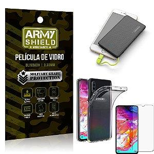 Kit Powerbank 5K Tipo C Samsung A70 Capa + Película Vidro + Powerbank 5000 mAh - Armyshield