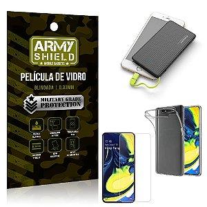 Kit Powerbank 5K Tipo C Samsung A80 Capa + Película Vidro + Powerbank 5000 mAh - Armyshield