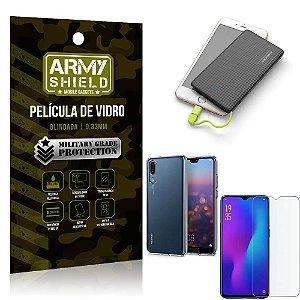 Kit Powerbank 5K Tipo C Huawei P30 Capa + Película Vidro + Powerbank 5000 mAh - Armyshield