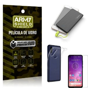 Kit Powerbank 5K Tipo C Motorola One Vision Capa + Película Vidro + Powerbank 5000 mAh - Armyshield