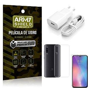 Kit Carregador Tipo C Xiaomi Mi 9 SE Carregador + Capa Silicone + Película Vidro - Armyshield