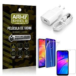 Kit Carregador Xiaomi Redmi 7 Carregador + Capa Silicone + Película Vidro - Armyshield