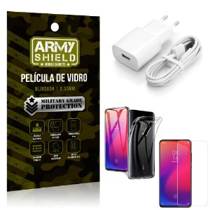Kit Carregador Tipo C Xiaomi Redmi K20 Mi 9T Carregador + Capa Silicone +Película Vidro - Armyshield