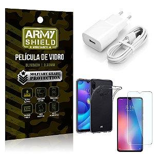 Kit Carregador Tipo C Xiaomi Redmi Note 7 Carregador + Capa Silicone + Película Vidro - Armyshield