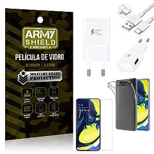 Kit Carregador Tipo C Samsung A80 Carregador + Capa Silicone + Película Vidro - Armyshield