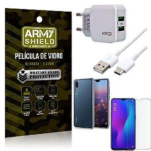 Kit Carregador Tipo C Huawei P30 Carregador + Capa Silicone + Película Vidro - Armyshield