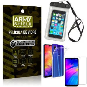 Kit Capa a Prova D'água Xiaomi Redmi 7 Capa Prova Dagua + Película Vidro + Capa TPU - Armyshield