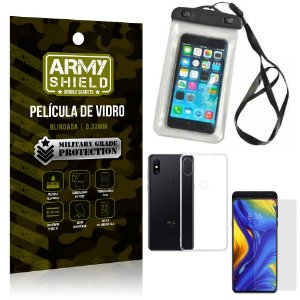 Kit Capa a Prova D'água Xiaomi Mi Mix 3 Capa Prova Dagua + Película Vidro + Capa TPU - Armyshield