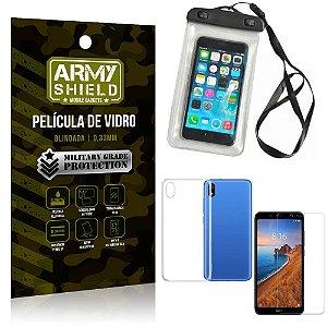 Kit Capa a Prova D'água Xiaomi Redmi 7A Capa Prova Dagua + Película Vidro + Capa TPU - Armyshield