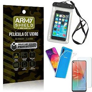 Kit Capa a Prova D'água Samsung A60 Capa Prova Dagua + Película Vidro + Capa TPU - Armyshield