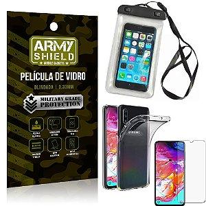 Kit Capa a Prova D'água Samsung A70 Capa Prova Dagua + Película Vidro + Capa TPU - Armyshield