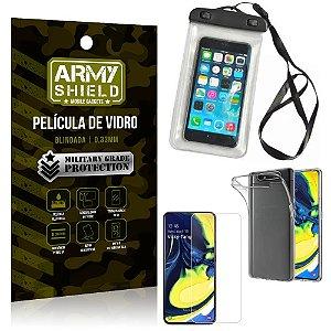 Kit Capa a Prova D'água Samsung A80 Capa Prova Dagua + Película Vidro + Capa TPU - Armyshield