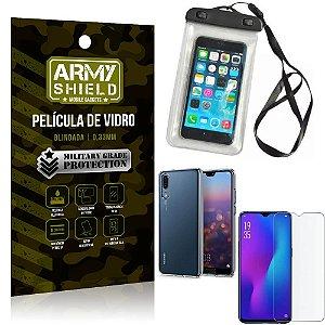 Kit Capa a Prova D'água Huawei P30 Capa Prova Dagua + Película Vidro + Capa TPU - Armyshield