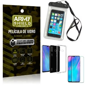 Kit Capa a Prova D'água Huawei P30 Lite Capa Prova Dagua + Película Vidro + Capa TPU - Armyshield