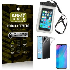 Kit Capa a Prova D'água Huawei P30 Pro Capa Prova Dagua + Película Vidro + Capa TPU - Armyshield