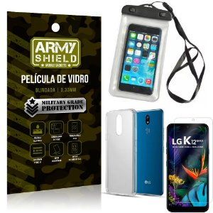 Kit Capa a Prova D'água LG K12 Max Capa Prova Dagua + Película Vidro + Capa TPU - Armyshield