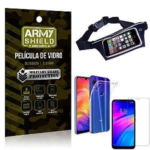 Kit Pochete Xiaomi Redmi 7 Pochete + Película de Vidro + Capa Silicone - Armyshield