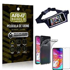 Kit Pochete Samsung A70 Pochete + Película de Vidro + Capa Silicone - Armyshield