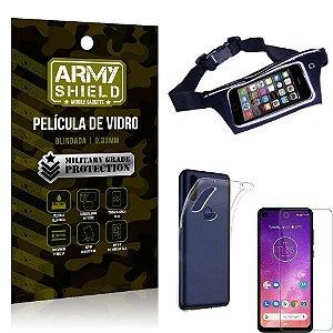 Kit Pochete Motorola One Vision Pochete + Película de Vidro + Capa Silicone - Armyshield