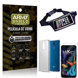 Kit Pochete LG K12 Max Pochete + Película de Vidro + Capa Silicone - Armyshield