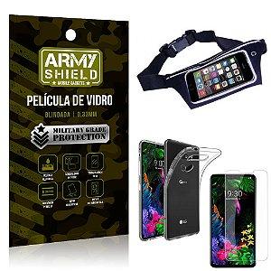 Kit Pochete LG G8S Pochete + Película de Vidro + Capa Silicone - Armyshield