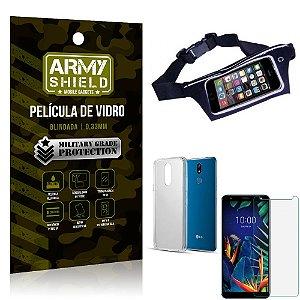 Kit Pochete LG K12 K12 Plus Pochete + Película de Vidro + Capa Silicone - Armyshield