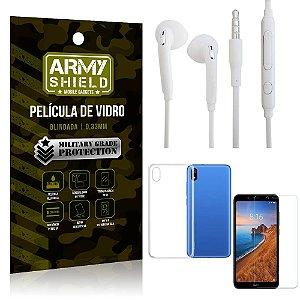 Kit Fone de ouvido Xiaomi Redmi 7A Fone de Ouvido + Película Vidro + Capa Silicone - Armyshield