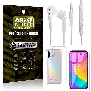 Kit Fone de ouvido Xiaomi Mi A3 (CC9e) Fone de Ouvido + Película Vidro + Capa Silicone - Armyshield