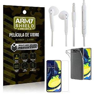 Kit Fone de ouvido Samsung A80 Fone de Ouvido + Película Vidro + Capa Silicone - Armyshield