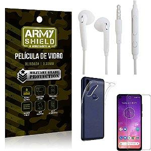 Kit Fone de ouvido Motorola One Vision Fone de Ouvido + Película Vidro + Capa Silicone - Armyshield