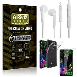 Kit Fone de ouvido LG G8S Fone de Ouvido + Película Vidro + Capa Silicone - Armyshield