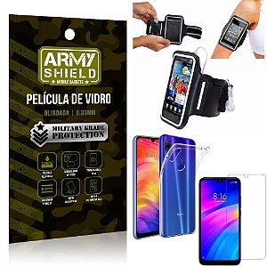 Kit Braçadeira Xiaomi Redmi 7 Braçadeira Corrida + Película Vidro + Capa Silicone - Armyshield