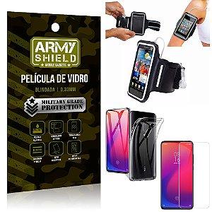 Kit Braçadeira Xiaomi Redmi K20 Mi 9T Braçadeira Corrida +Película Vidro +Capa Silicone - Armyshield