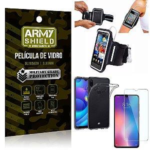 Kit Braçadeira Xiaomi Redmi Note 7 Braçadeira Corrida + Película Vidro + Capa Silicone - Armyshield